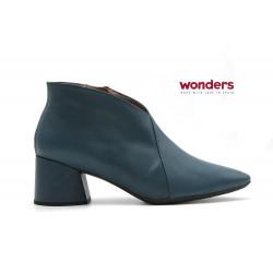 Botín piel escote Wonders azul
