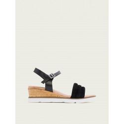 Sandalia cuña negro Porronet