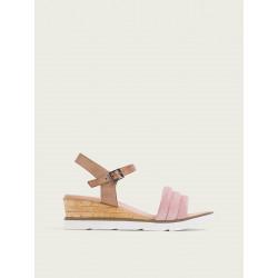 Sandalia cuña taupe rosa...